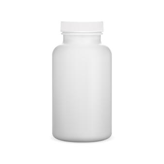 Plastikpillenflasche weiße witamin-kapselglas-vektorschablone lokalisiert auf hintergrund medizin