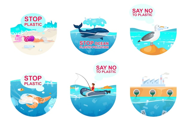 Plastikverschmutzung in den flachen konzeptikonen des ozeans eingestellt. meerwasserverschmutzung problem aufkleber, cliparts pack. umweltschutz. isolierte karikaturillustrationen auf weißem hintergrund