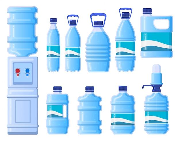 Plastikwasserflaschen. kühler wasserflaschenverpackung, flüssiges getränk in plastikflasche. flaschenbehälter illustrationssymbole eingestellt. wasserkühlerspender, tragbare bürogeräte