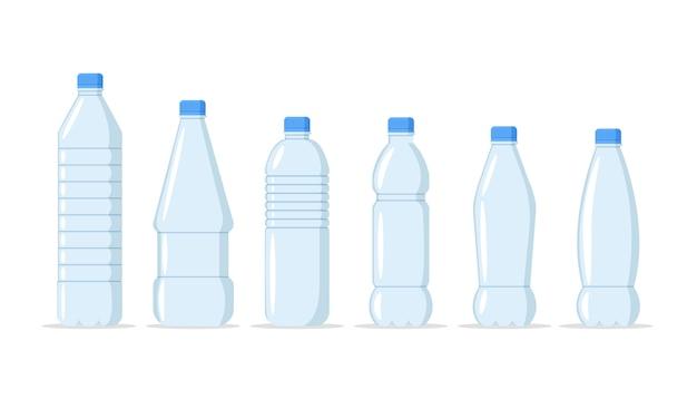 Plastikwasserflaschen realistischer satz von großen behältern für kühler und kleine tara für den einzelhandelsverkauf. gesunde agua-flaschenillustration. sauberes getränk im plastikbehälter