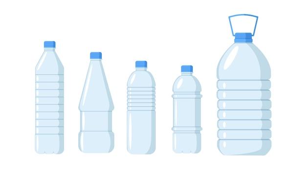 Plastikwasserflaschenset. behälter verschiedene plastikflaschen mit frischem und sauberem wasser