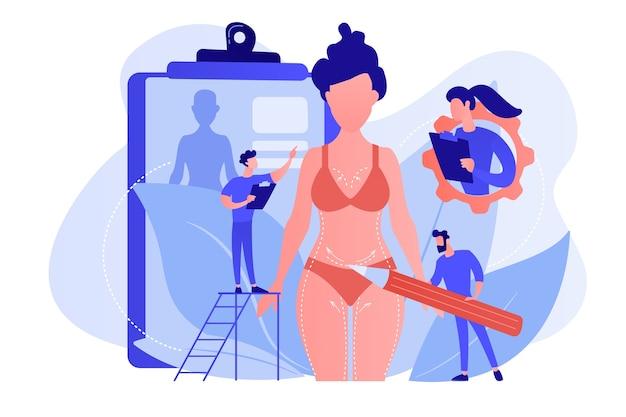 Plastische chirurgen, die bleistiftmarkierungen tun und körperkonturierung der frau vorbereiten. körperformung, körperkorrektur, körperplastik-servicekonzept. isolierte illustration des rosa korallenblauvektors