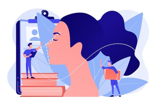 Plastischer chirurg, der die form der frauennase für die nasenkorrektur korrigiert. nasenkorrektur, nasenkorrekturverfahren, konzept der chirurgischen nasenkorrektur. isolierte illustration des rosa korallenblauvektors