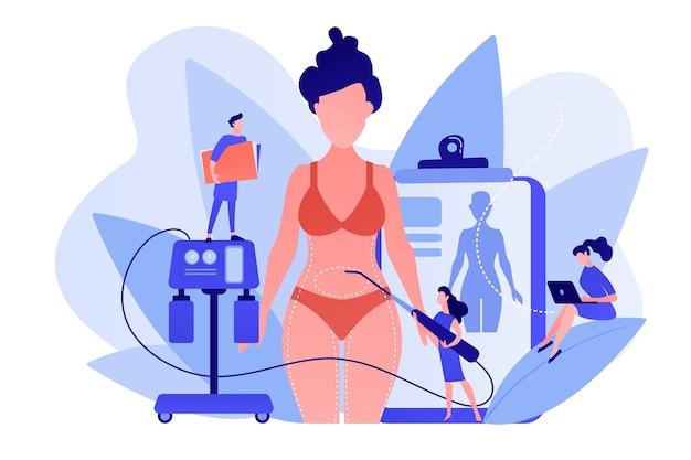 Plastischer chirurg mit einem saugschlauch, der die fettabsaugung von frau markierten körperteilen durchführt. fettabsaugung, lipo-verfahren, konzept der fettentfernungschirurgie. isolierte illustration des rosa korallenblauvektors