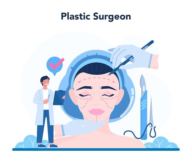 Plastisches chirurgenkonzept. idee der körper- und gesichtskorrektur.