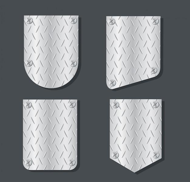 Platte metall banner vektor gesetzt