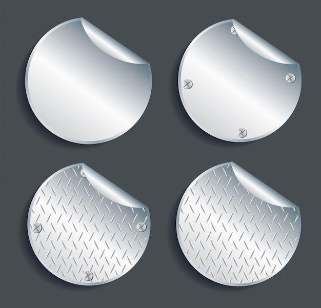 Platte metall kreis schaltflächen vektor festgelegt