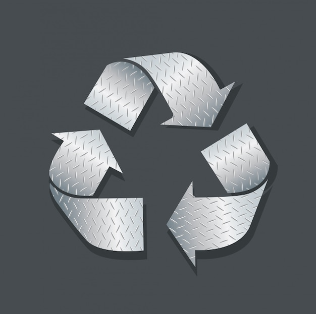 Platte metall recyceln symbol symbol vektor