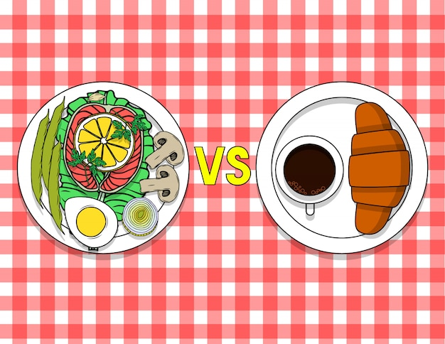 Platte mit biologischem lebensmittel und eine platte mit einem hörnchen und einem kaffee auf dem tisch