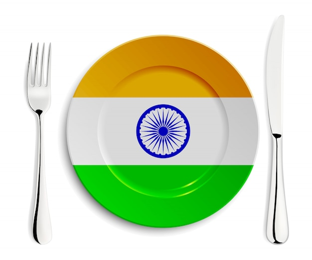 Platte mit flagge von indien