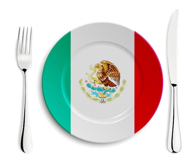 Platte mit flagge von mexiko