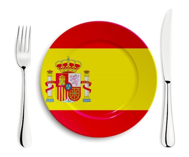 Platte mit flagge von spanien