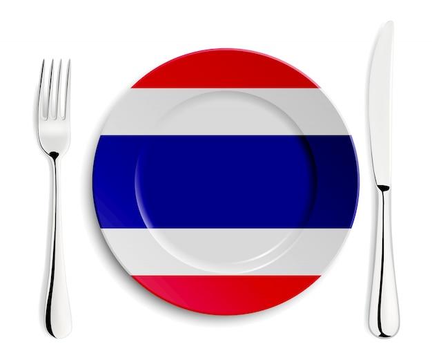 Platte mit flagge von thailand