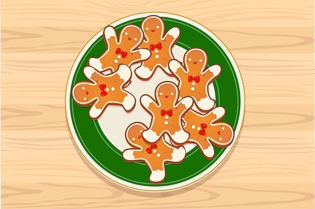 Platte mit lebkuchen weihnachtsplätzchen auf holztisch. draufsichtvektorillustration für neues jahr- und winterferiendesign.