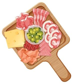 Platte mit verschiedenen wurst- und käsesorten auf weißem hintergrund
