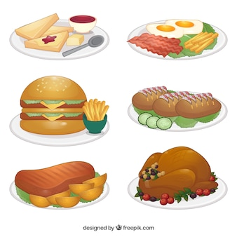 Platten von lebensmitteln illustrationen gesetzt