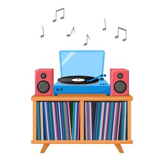 Plattenspieler, der musik-vinyl-schallplatte spielt audiogerät mit akustiksystem vinyl-sammlung vektor