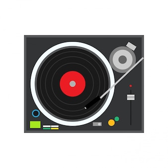 Plattenspielerspieltechnologie-stereomusical dj elektronischer vinylaufzeichnungsvektor