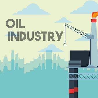 Plattform raffinerie gaskran und stadt ölindustrie