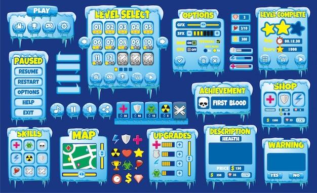 Plattform-spiel-benutzeroberfläche für handy-spiel und app Premium Vektoren