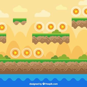 Plattform-videospiel-szene mit sternen