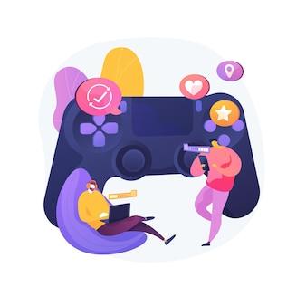 Plattformübergreifendes spiel abstrakte konzeptillustration