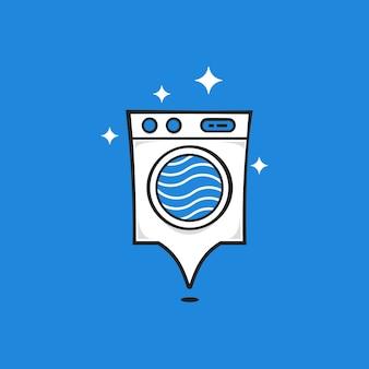 Platz für waschmaschinen oder waschmaschine oder pin-logo im glänzenden karton-stil
