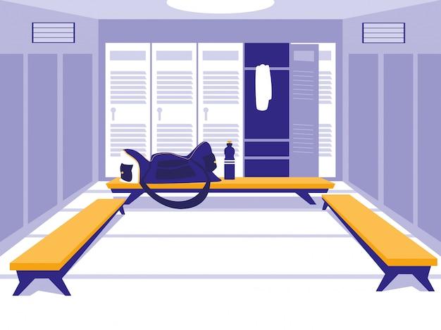 Platz mit schließfach der sporthalle