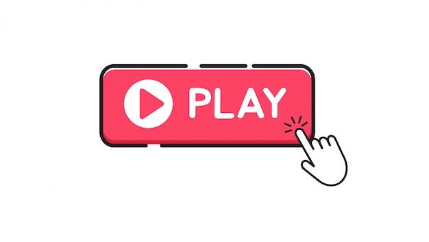 Play button auf weißem hintergrund