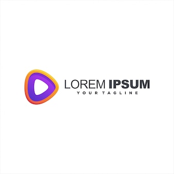 Play button gradient logo design