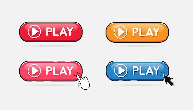 Play button set. klicken sie auf die wiedergabetaste. Premium Vektoren