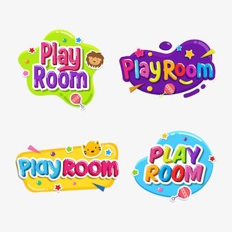 Play room label text aufkleber kindisch abzeichen