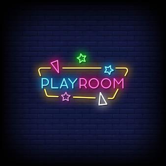 Play room neon style text mit verschiedenen formen