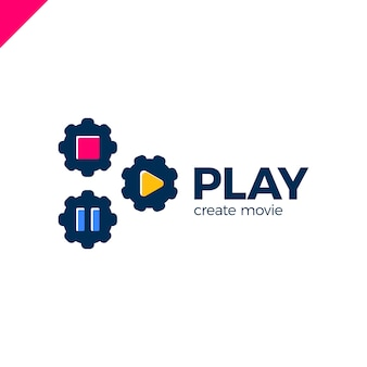 Play-symbol mit video-zahnrad-logo