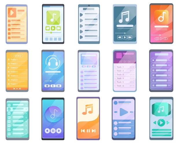 Playlist icons set, cartoon-stil