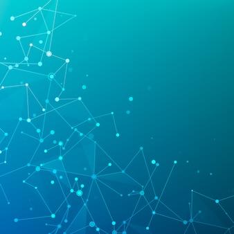 Plexus polygonale struktur von datenfeldern oder netzwerk. digitale datenvisualisierung. geometrisches grafisches hintergrundmolekül und kommunikation. big-data-komplex mit verbindungen. illustration