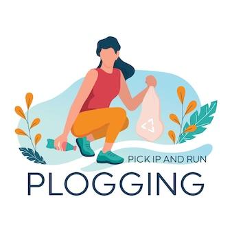 Plogging banner. junge frau nimmt plastikflasche beim joggen im wald auf. mädchen sammeln müll beim laufen. umweltfreundlicher und gesunder lebensstil.