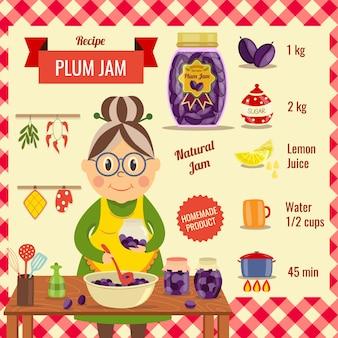 Plum jam recipe flat design