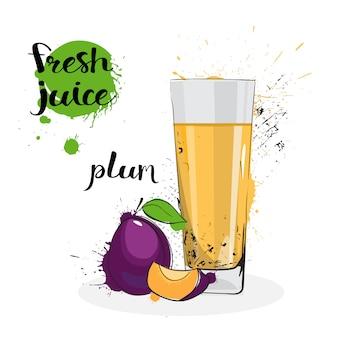 Plum juice fresh hand gezeichnete aquarell-frucht und glas auf weißem hintergrund