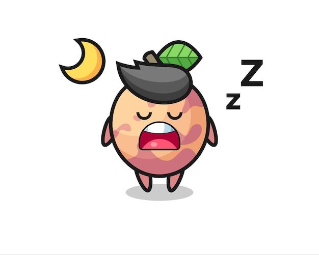 Pluot-frucht-charakterillustration, die nachts schläft, niedliches design für t-shirt, aufkleber, logo-element