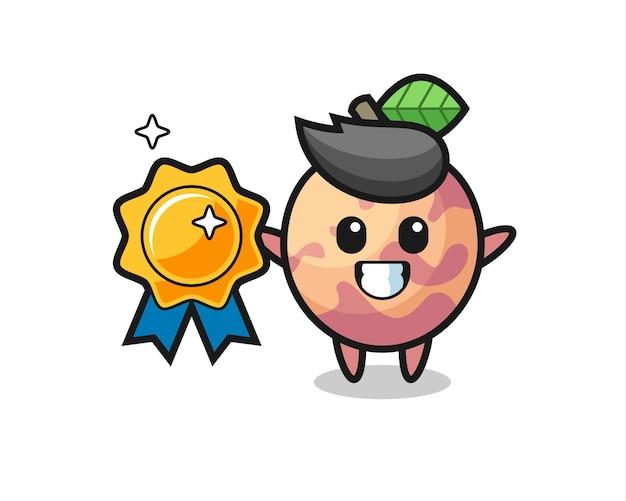 Pluot-frucht-maskottchen-illustration mit einem goldenen abzeichen, süßem design für t-shirt, aufkleber, logo-element