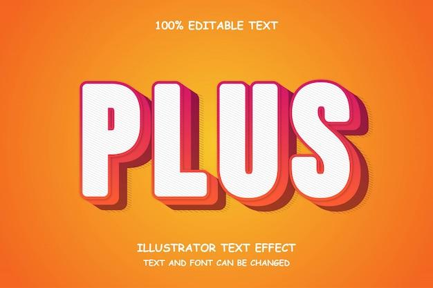 Plus, bearbeitbarer 3d-texteffekt im modernen comic-stil