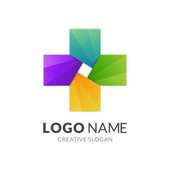 Plus-logo mit buntem design, medizinische vorlage
