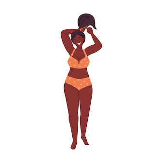 Plus size kleine pflaume afroamerikanische frau in bikini-körper positive dame im badeanzug isoliert flach