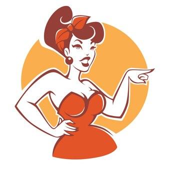 Plus size pinup girl im roten kleid auf beigem hintergrund für ihr logo oder emblem