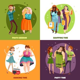 Plusgrößenfrauen während der fotosessionseinkaufsparty und des tanzenkonzeptes lokalisiert