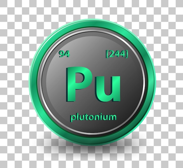 Plutonium chemisches element. chemisches symbol mit ordnungszahl und atommasse.