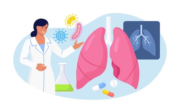 Pneumologie. arzt untersucht die lunge. tuberkulose, lungenentzündung, lungenkrebsbehandlung oder diagnostik. inspektion der inneren organe auf erkrankungen, krankheiten oder probleme des atmungssystems
