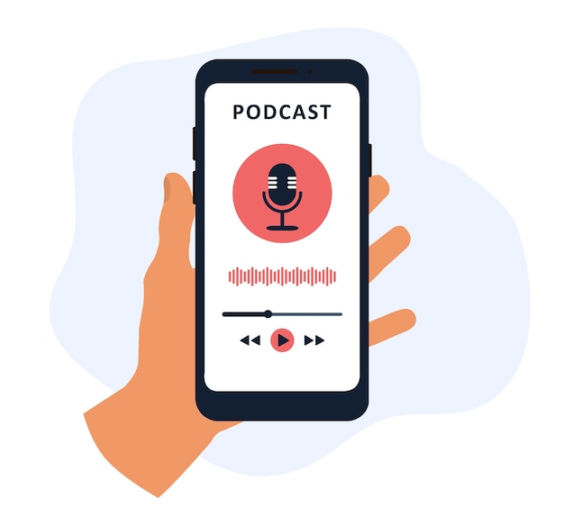 Podcast-app in einem handy in der hand