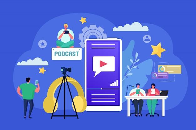 Podcast audio radio konzept, illustration. flacher personencharakter mit mikrofon, kommunikationstechnologie für sprachaufzeichnung